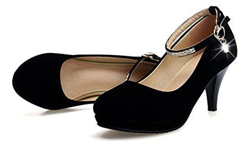 Aisun Femmes Élégant Strass Boucle Orteils En Amande Chunky Chaton Talons Robe Cheville Sangle Pompes Chaussures Noir