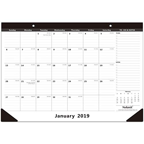 Table Calendar (Nekmit 2019 Monthly Desk Pad Calendar, Ruled Blocks, 16-3/4