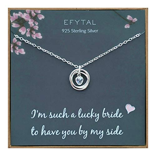 EFYTAL Bridesmaid Gifts, 925 Sterling Silver 3 Rings with CZ Heart Necklace for Bridesmaids, Bridal Party Gift from Bride, Wedding Pendant Jewelry for Women