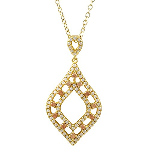 Teardrop Pendant 925 Sterling Silver, Champagne Cubic Zirconia, Gold Flashed - by Piers (Sterling Silver Teardrop Champagne)