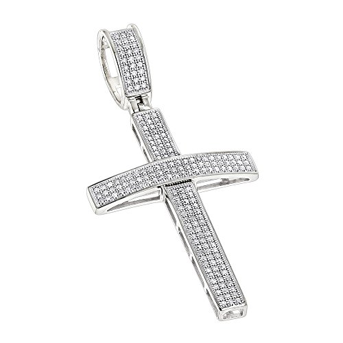 Diamond Pendant Flower Gold White 14k (Luxurman 14K Round Pave Set Natural 0.5 Ctw Diamond Cross Pendant (White Gold))