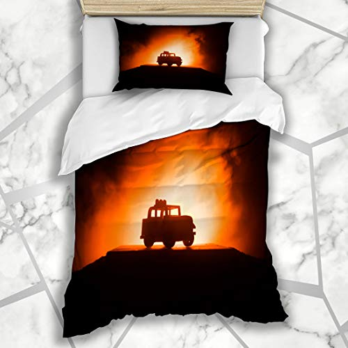 Ahawoso Duvet Cover Sets Twin 68X86 Car Adventure Off Roader Jeep On Dark Technology Road Action American Auto Automobile Automotive Microfiber Bedding with 1 Pillow -