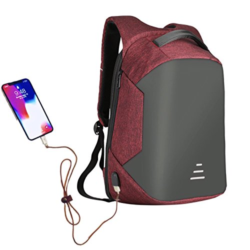 Wonder Anti theft slim laptop knapsack, with useful headphone & usb charging port, convenient softback for comfortable travel. Unisex, waterproof & rainproof backpack, fits 15.6 inch laptop (Red) by W Wonder