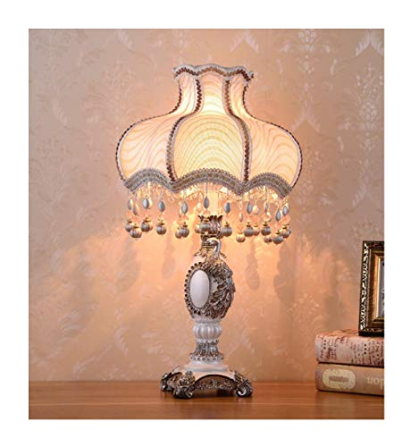 WFTD European Style Table Lamp,Fabric Bedside Lamp Handmade Princess Victorian Style Peacock Statue Resin Lamp Body Desk Lamp Use E27/ E26 Bulbs,S