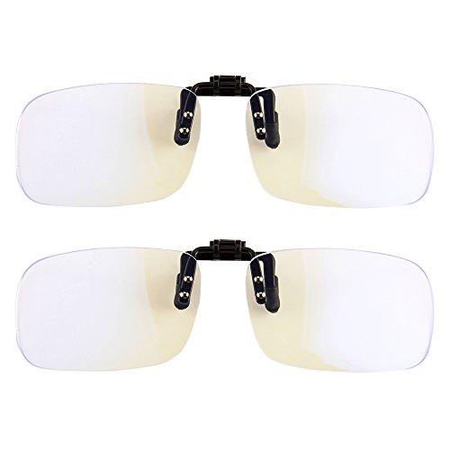 (Gudzws Clip On Blue Light Filter Blocking Glasses Computer Gamer Digital Eye Strain Relief Anti-Glare,Attach to Reading or Myopia Glasses Protect Eyesight Health Unisex)