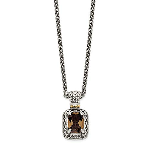 925 Sterling Silver 14k Smoky Quartz Chain Necklace Pendant Charm Gemstone Fine Jewelry Gifts For Women For Her ()