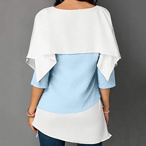 Tops Manches Blouse Chemisiers Longues Elegant 4 Superposes Innerternet Bleu Coton Femmes Shirt Casual 3 Haut T Lache EcFz47qg