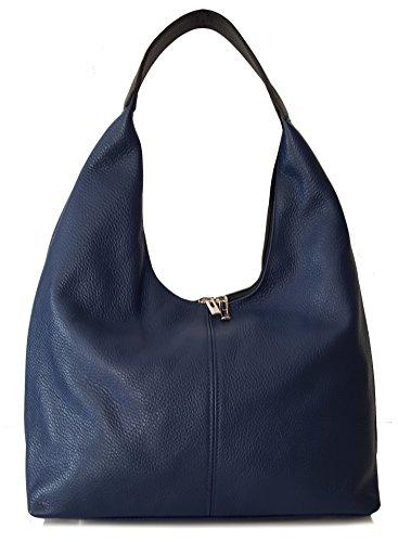 Sa Lucca echt Leder Handtasche Schultertasche Damentasche Blau