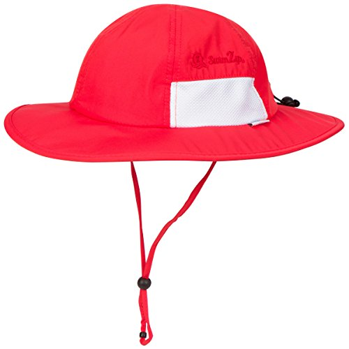 SwimZip Unisex Child Wide Brim Sun Protection Hat Adjustable | Red 6-24 Month