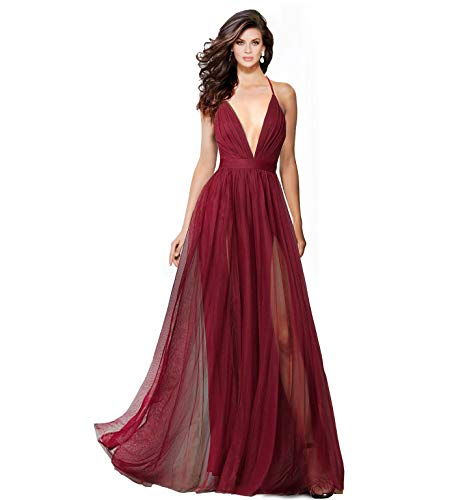 Alluring deep v-Neckline Spaghetti Straps Criss-Cross Open Back Tulle Dual Front Slits Evening Prom Formal Dress (Burgundy, 6)
