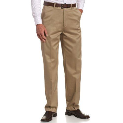 Savane Big Mens PLAIN Front Luster Wash Pant - Khaki (Fawn 58W x (Luster Wash)