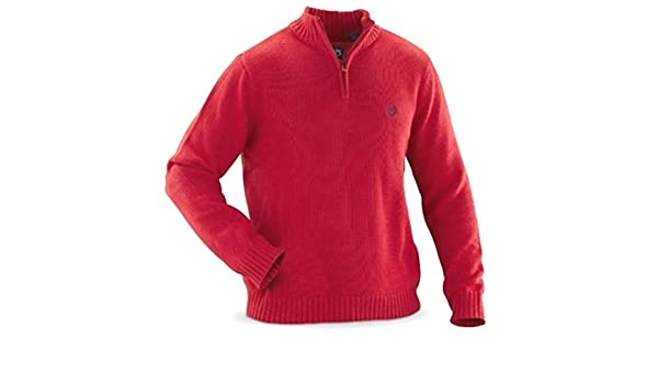 Chaps Mens 1/4 Zip Thick Cotton Pullover Sweater Orange at Amazon ...
