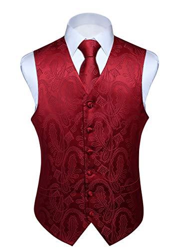 HISDERN Men's Paisley Floral Jacquard Waistcoat & Neck Tie and Pocket Square Vest Suit Set Burgundy ()