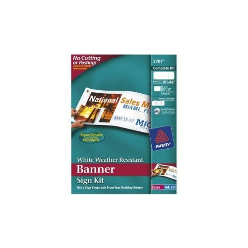 Avery White Weather Resistant Banner Sign Kit, Repositionable, 18