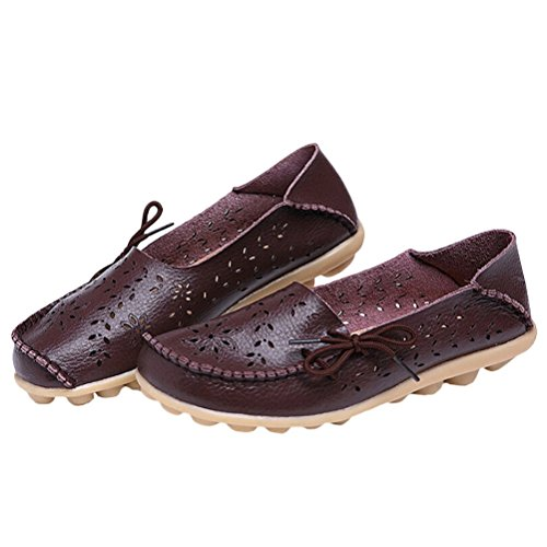MatchLife Women Vintage Leather Flat Pump Casual Shoes Style3-Coffee 7XbLIR