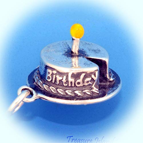 (Birthday Cake with Yellow Enamel Candle 3D 925 Sterling Silver Charm Vintage Crafting Pendant Jewelry Making Supplies - DIY for Necklace Bracelet Accessories by CharmingSS )