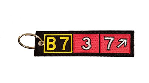 Boeing 737 Airport Taxiway Sign Embroidered Keychain