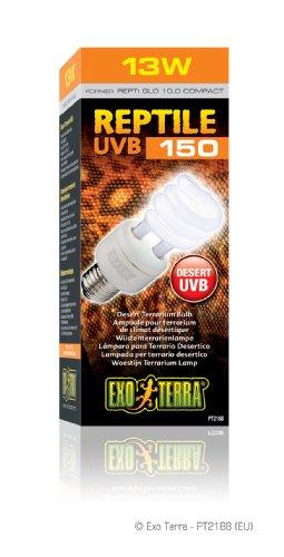 Exo Terra Repti-Glo 10.0 Compact Fluorescent Desert Terrarium Lamp, 13-Watt