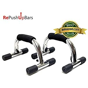 Re PushUp Bars (TM) Super Sturdy Stainless Metal PushUp Bars with Rubber Grip and Nonskid Feet | Effortless to Assemble/Disassemble | Incredible for Any Pushup Training Program | 283