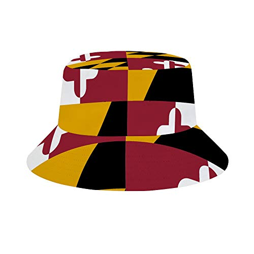 MSACRH Fisherman's Hat Maryland Flag Women Extra Large Brim Floppy Bucket Cap for Travel Outdoor Camping Beach White (Best Places To Go Fishing In Maryland)