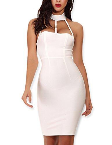 Maketina Women Halter Cut Out Bodycon Bandage Dress Sleveless Short Clubwear Party Dresses