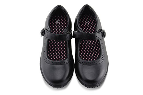 (Jabasic Girl's Mary Jane School Uniform Shoes (5,Black))