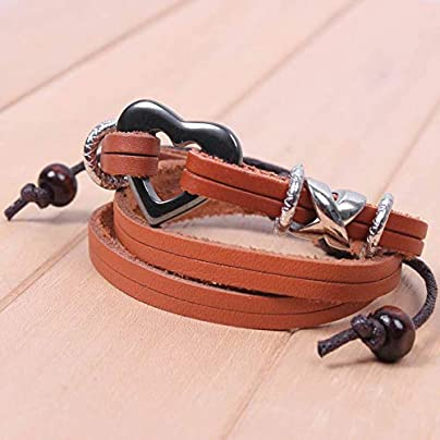 ZUOZUO Leather Wristband Bracelet Ladies Men S Shoulder Straps Knot Adjustable Bracelet Unisex Estimated Price £16.99 -