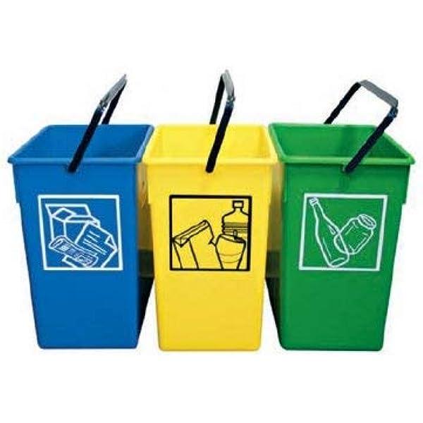 PLASTICOS HELGUEFER - Pack de 3 Cubos ecológicos selectivos de 15 ...