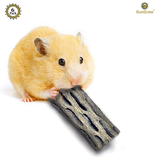 SunGrow 6-pcs Natural Cholla Wood Hamsters 100% Organic Soft Wood, Non-Toxic, Pesticide-Free, Thorn-Free – Chew Toy Ferrets, Guinea Pigs, Gerbils, mice, Chinchillas – Perfect Climbing