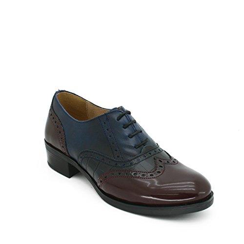 Burdeos Cordones de Mujer y Tipo Azul Elegante Zapato Plano Oxford y Piel C EN 68twqnUp