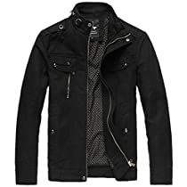 Wantdo Mens Cotton Stand Collar Lightweight Front Zip Jacket