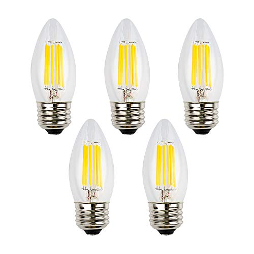 (OPALRAY 12V Low Voltage LED Bulb, 6W Dimmable with 12V DC Dimmer, 2700K Warm White Light, E26 Medium Base, Clear Glass Torpedo Tip, 600Lm 60W Incandescent Equivalent, 12 Volts Power Operated, 5-Pack)