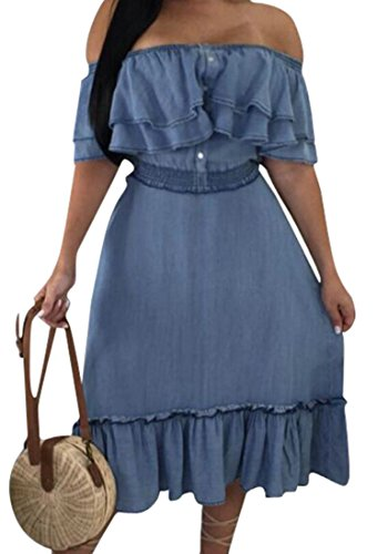 Off Long The Women's Dress Sexy Blue Shoulder Stylish Ruffle Denim Club Domple Waist waSTqE