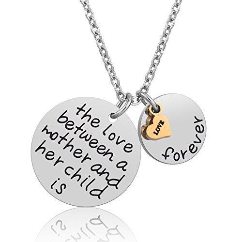 Mom Gift Idea Pendant Necklace - Best Unique Wedding Gifts for Mothers Day Birthday Christmas from Daughter Son, Stainless Steel Mom Gifts Funny Fashion Jewelry Necklace Gift Box 18'' (Mother Child) Son Gift Set