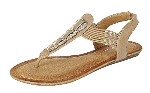Forever Link Women's Embellished Crystal Rhinestone Metallic Thong Sandal (8.5 B(M) US, Taupe)