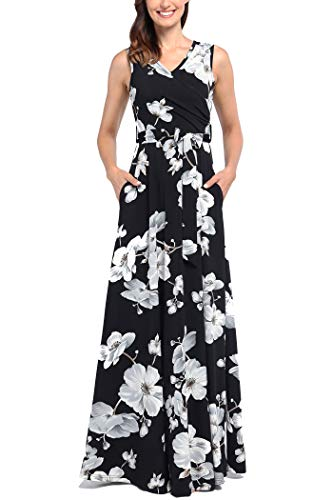 Comila Floral Dresses for Women Casual Beach Holiday, Sexy Warp V Neck High Waist with Bow Fashion Vintage Floral Printed Sleeveless Casual Tank Dress with Pockets Black M(US8-10) by Comila (Image #1)