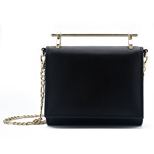DANTTAN Women Crossbody Wallet Trifold Soft Calfskin Genuine Leather Handbag Black
