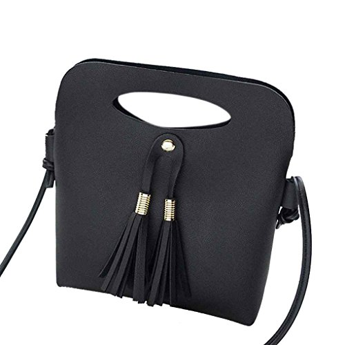 Tassel femmes Fille de couleur unie bandoulière unique sac à main Boucle PU magnétique Bucket Casual Tote Sacs Messenger Arichtop Noir