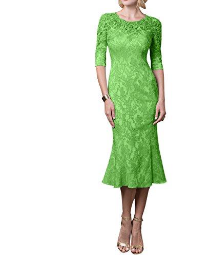 Knielang Grün Brautmutterkleider Festlichkleider Formal Abendkleider Damen mit Langarm Charmant Etuikleider Partykleider gqxwT5vO