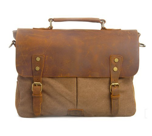 DesertWolf Cotton Canvas Genuine Crazy-horse Leather Cross Body Laptop Messenger Bag - Men Business Vintage Handbag / Briefcase - Fit 14 Inch - Cotton Briefcase Leather