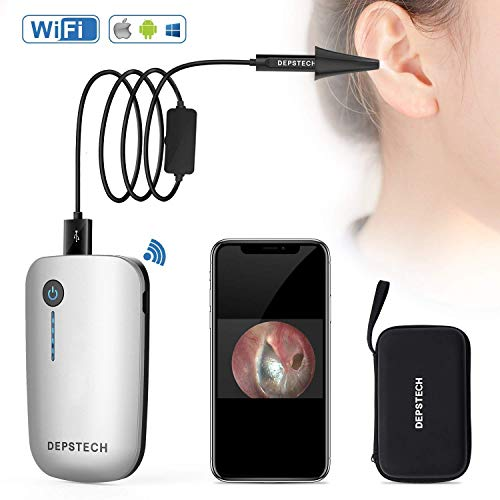 Wireless Ear Otoscope, DEPSTECH Detached Digital Ear Scope Ear Inspection Camera Earwax Cleaning Tool with 6 LED Lights for Android Devices, iPhone & iPad, Windows & MAC PC Computer