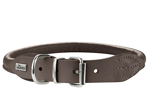 (Hunter Round and Soft Elk Leather Dog Collar, Mocca, Adjustabilities)