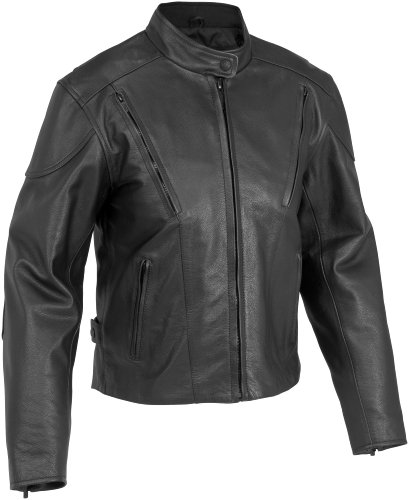 River Road Motorcycle Accessories - River Road Womens Race Vented Leather Motorcycle Jacket Black Small S