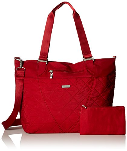 Bag Tote Quilted Nylon - Baggallini Quilted Avenue Tote with RFID, red