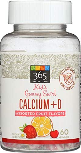 365 Everyday Value, Kids Gummy Swirls Calcium + D, Assorted Fruit Flavors, 60 ct