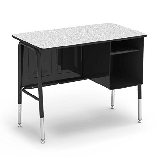 Virco Executive Desk, Black Desk Frame with Gray Top, 20 x 34 inch Work Space