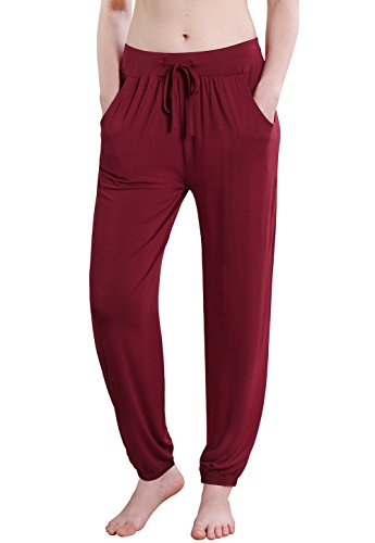 Stretch Cord Pant - Vislivin Women's Stretch Knit Pajama Pants Modal Sleep Pant Wine Red Thin XL