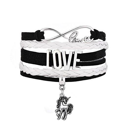 Tibetan Silver Tone Handmade Woven Multilayer Leather Wristband Bracelet Infinity Love Unicorn Charm (White)