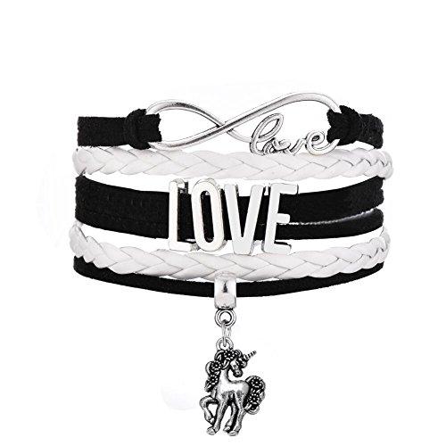 Tibetan Silver Tone Handmade Woven Multilayer Leather Wristband Bracelet Infinity Love Unicorn Charm (White)