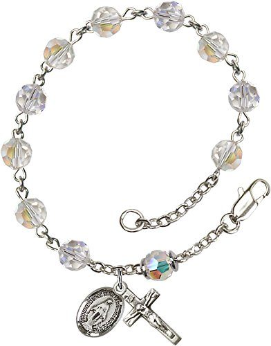 Sterling Silver Rosary Bracelet features 6mm Crystal Austrian Tin Cut Aurora Borealis beads. The Crucifix measures 5/8 x 1/4.
